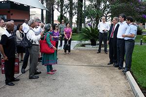 Pr. Domingos, Pr. Magdiel Pérez e Pr. Emanuel Guimarães recepcionam líderes mundiais adventistas