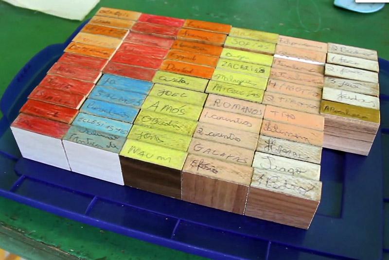 Cada bloco representa um livro da Bíblia