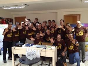 Grupo de líderes do Ministério Jovem reunidos em Olímpia, SP.