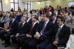Líderes da Igreja Adventista presentes no momento da inauguração
