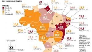 Mapa mostra estados brasileiros onde a violência é mais praticada