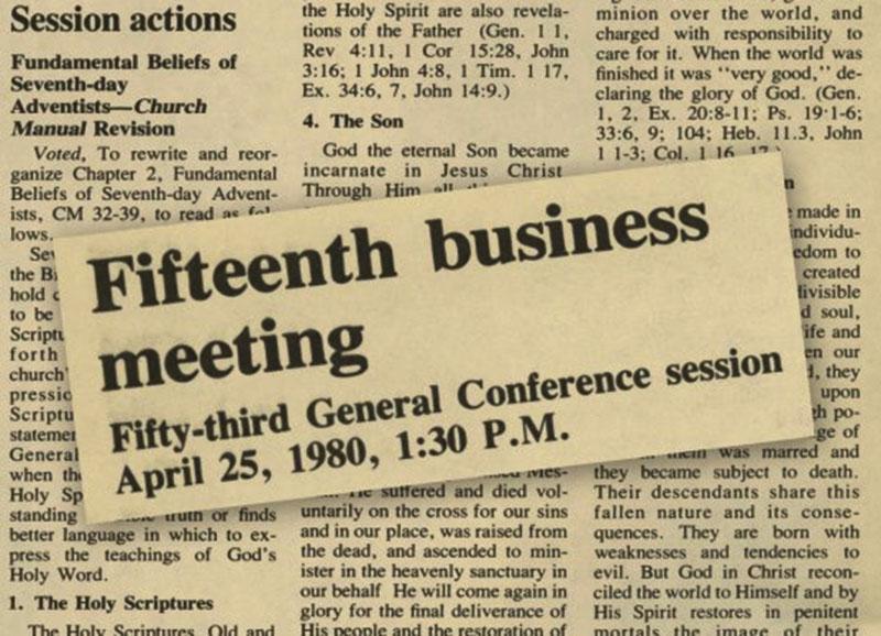 Em 1980, a conferência geral inseriu as crenças no manual da igreja