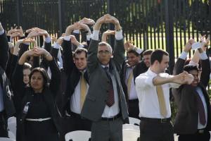 Pr. Bomfim (em destaque) comandou o culto especial em Brasília