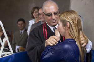 A cerimônia foi marcada também por um batismo
